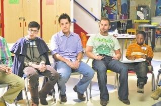 "From left to right, Christopher Mintz-Plasse, Paul Rudd, Seann William Scott and Bobb'e J. Thompson in ""Role Models."""