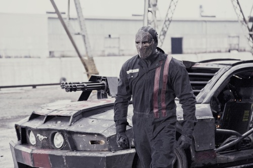 "Jason Statham gets ready to ride in ""Death Race."""
