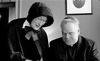 "Meryl Streep and Philip Seymour Hoffman in a scene from ""Doubt."""