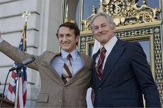 "Sean Penn plays Harvey Milk and Victor Garber plays George Moscone in ""Milk."""