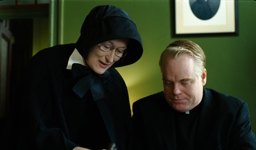"Meryl Streep portrays Sister Aloysius and Philip Seymour Hoffman plays Father Flynn in the Oscar-nominated drama ""Doubt."""