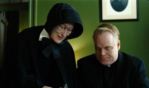 "Meryl Streep portrays Sister Aloysius and Philip Seymour Hoffman plays Father Flynn in the Oscar-nominated drama ""Doubt."""