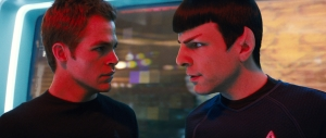 "Chris Pine, left, plays Kirk and Zachary Quinto plays Spock in the new ""Star Trek."""