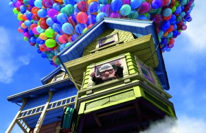 "Carl Frederickson launches his house into the sky in the movie ""Up."""