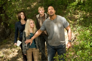 "From left to right, Carla Gugino, AnnaSophia Robb, Alexander Ludwig and Dwayne Johnson in ""Race to Witch Mountain."""