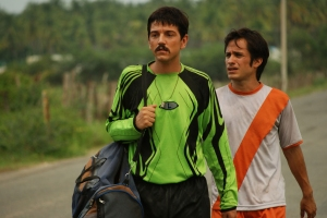 "Diego Luna, left, and Gael Garcia Bernal portray up-and-coming soccer stars in the Mexican drama ""Rudo y Cursi."""
