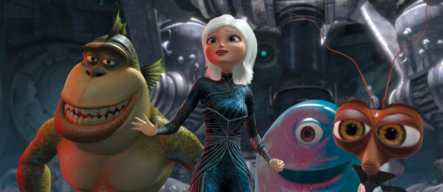 """From left, The Missing Link, Ginormica, B.O.B. and Dr. Cockroach in a scene from the animated movie """"Monsters Vs. Aliens."""""""