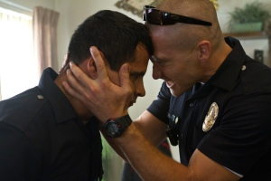 "Michael Pena, left, and Jake Gyllenhaal play Los Angeles police officers in the drama ""End of Watch."""