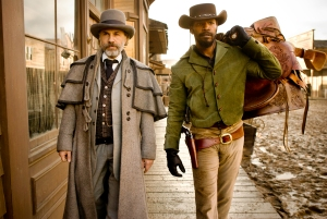 "Christoph Waltz, left, and Jamie Foxx star in writer-director Quentin Tarantino's stylized Western, ""Django Unchained."" Both Tarantino and Waltz won Oscars for their work in the film: Waltz for best supporting actor and Tarantino for best original screenplay."