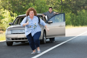 "Melissa McCarthy (front) and Jason Bateman star in ""Identity Thief."""