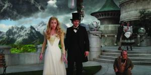 "Michelle Williams, far left, plays Glinda and James Franco (by her side) plays the title character in ""Oz the Great and Powerful."""