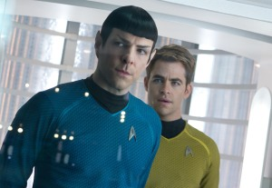 "Zachary Quinto, left, plays Spock and Chris Pine plays James Kirk in the science-fiction film ""Star Trek Into Darkness."""