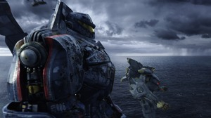 "The fighting machines Gipsy Danger, front, and Striker Eureka prepare for combat in the science-fiction adventure ""Pacific Rim."""