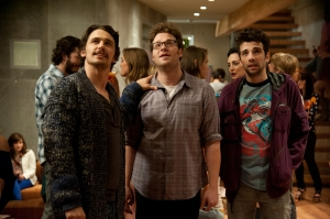 "The comedy ""This is the End"" features a star-studded cast including, from left to right, James Franco, Seth Rogen and Jay Baruchel."