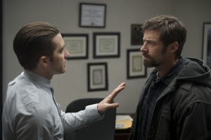 "Jake Gyllenhaal, left, and Hugh Jackman star in the thriller ""Prisoners."""