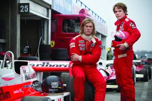"Chris Hemsworth, left, plays real-life racecar driver James Hunt and Daniel Brühl plays his rival Niki Lauda in director Ron Howard's ""Rush."""
