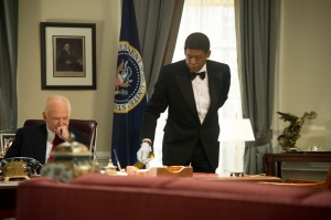 "Robin Williams, left, plays President Dwight D. Eisenhower and Forest Whitaker plays Cecil Gaines in ""Lee Daniels' The Butler."""