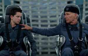 "Asa Butterfield, left, and Harrison Ford star in ""Ender's Game."""