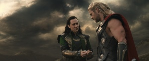 "Tom Hiddleston, left, plays Loki and Chris Hemsworth plays Thor in the Marvel Comics adventure ""Thor: The Dark World."""
