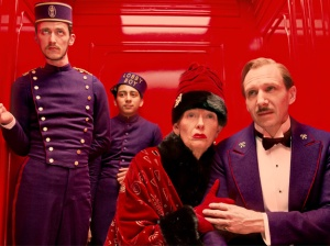 "From left to right, Paul Schlase, Tony Revolori, Tilda Swinton and Ralph Fiennes star in ""The Grand Budapest Hotel."""