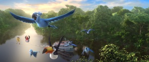 "Blu, Jewel and their children soar through the air with Rafael, Nico and Pedro in a scene from ""Rio 2."""