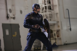 "Chris Evans plays Marvel Comics' shield-wielding title character in ""Captain America: The Winter Soldier.""  Photo courtesy of Disney"
