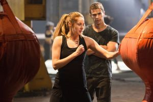 "Shailene Woodley, left, and Theo James star in ""Divergent.""  Photo courtesy of Lionsgate"