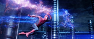 """Spider-Man battles the high-voltage villain Electro in """"The Amazing Spider-Man 2.""""  Photo courtesy of Sony"""