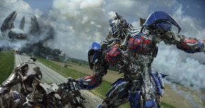 "The Autobot Optimus Prime swings into action in a scene from ""Transformers: Age of Extinction.""  Photo courtesy of Paramount"
