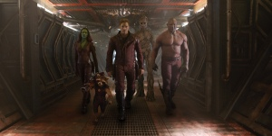 "From left to right, Zoe Saldana plays Gamora, Bradley Cooper plays Rocket, Chris Pratt plays Peter Quill, Vin Diesel plays Groot and Dave Bautista plays Drax in ""Guardians of the Galaxy.""   Photo courtesy of Disney"