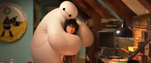 "The robot Baymax hugs Hiro in a scene from ""Big Hero 6.""  Photo courtesy of Disney"