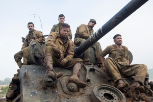 "From left to right, Shia LaBeouf, Brad Pitt, Logan Lerman (rear), Michael Peña and Jon Bernthal star in the war drama ""Fury""   Photo courtesy of Sony"
